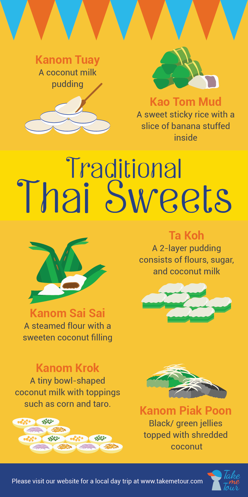 traditional, thai, sweets, dessert, kanom