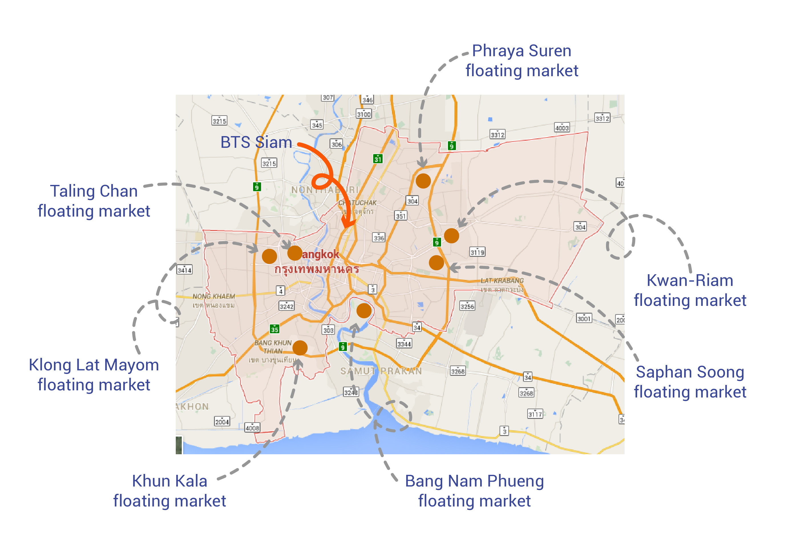 floating markets in bangkok map