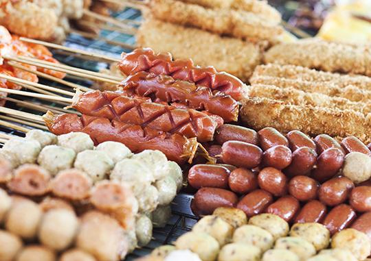 Thai street food, sausage, thai food, thailand