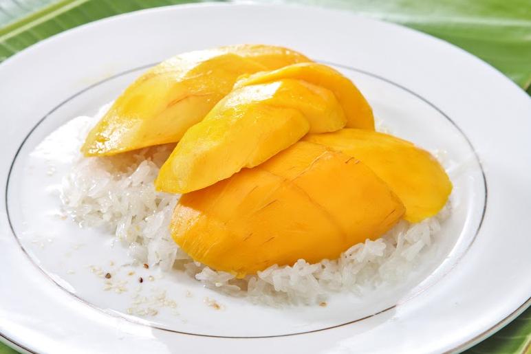 thai fruits, mango, sticky rice