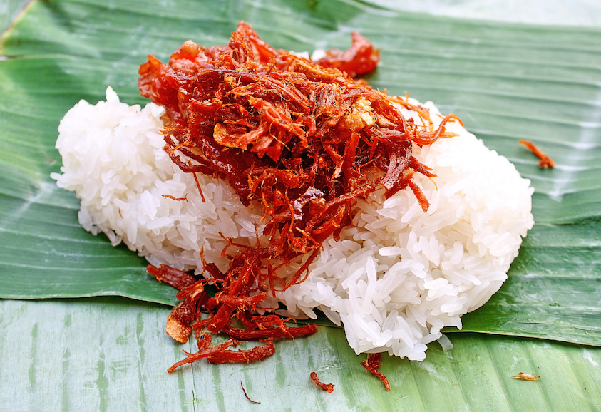 Shredded pork with sticky rice (Khao Niew Moo Foi)