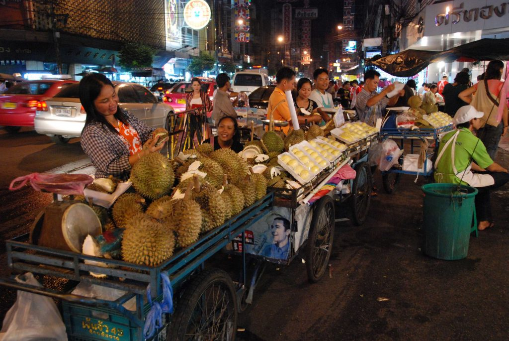 Delicious Durian being sold on the streets of Yaowarat.