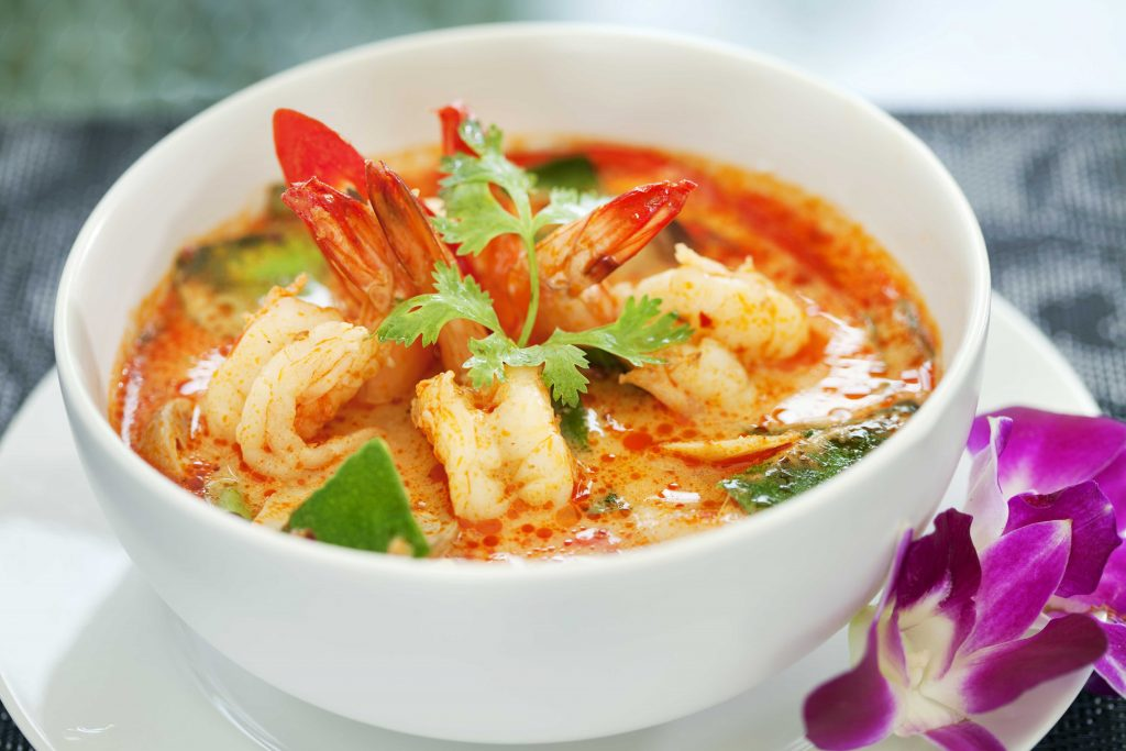 Central Thai cuisine favourite, Tom Yum soup with prawns!