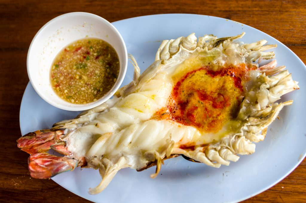 Ayutthaya's jumbo grilled river prawn