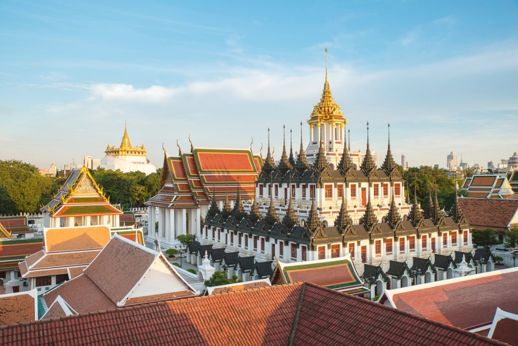 Metallic Castle and Golden Mount in Bangkok Old Town
