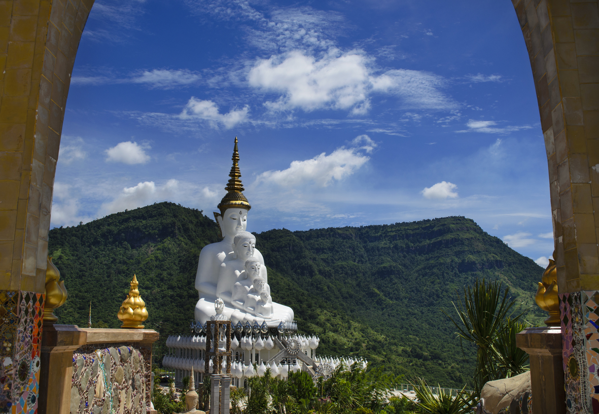 Wat Pha Sorn Kaew against the mountains of Phetchabun