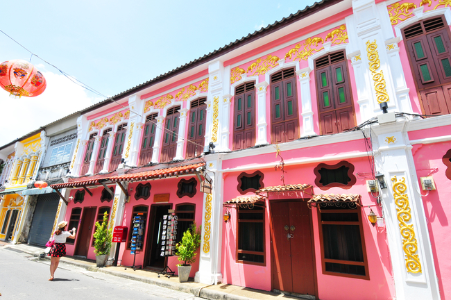 Best Places to Visit during Chinese New Year in Thailand: Phuket looking sweet with the pink Sino-Portuguese shophouses. Things get even more colorful during Chinese New Year in Phuket.