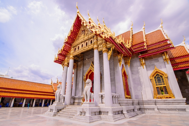 Temples on Thai coins: Wat Benchamabophit or the Marble Temple in Bangkok