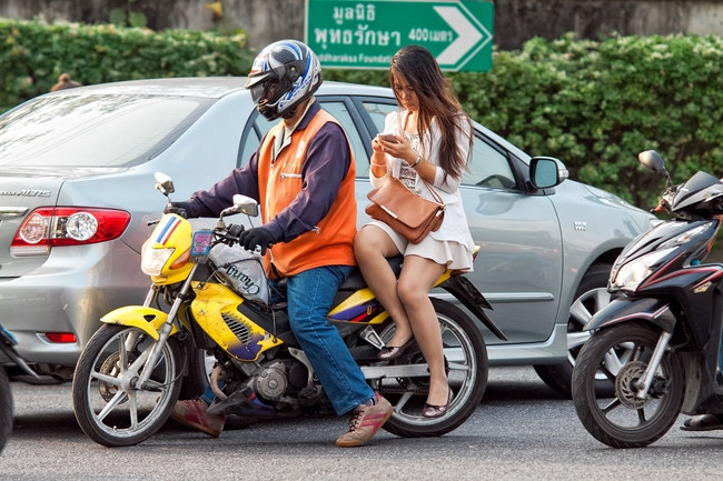 Your phone is your friend when it comes to riding a Bangkok motorbike taxi (Don't use it while riding, though...)