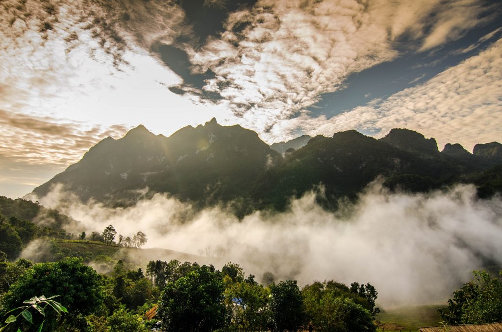A sea of mist floats over the mountains of Chiang Dao