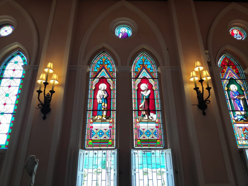 Stained glass windows, deities, Church of Immaculate Conception